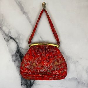 Vintage Japanese red hand bag clutch